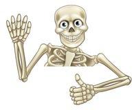 Karikatur-Skeleton Daumen Up Zeichen Stockbild