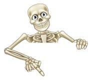 Karikatur-Skeleton Zeigen auf Zeichen Stockfotos