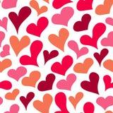 Karikatur skizzierte nahtloses Muster des Herzens Stockbild