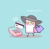 Karikatur Smartphone, der online kauft Lizenzfreie Stockbilder