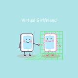 Karikatur Smartphone mit virtueller Freundin Stockbilder