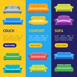 Karikatur-Sofa oder Divan Banner Vecrtical Set Vektor Stockbild