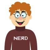 Karikatur-Sonderling in den Gläsern und im Pullover Stockbilder