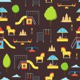 Karikatur-Spielplatz-Element-nahtloser Muster-Hintergrund Vektor Stockfotografie