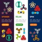 Karikatur-Spinner Toy Banner Vecrtical Set Vektor Lizenzfreie Stockfotografie
