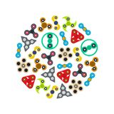 Karikatur-Spinner-Toy Round Design Template Color-Ikonen eingestellt Vektor Stockfoto
