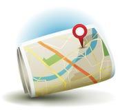 Karikatur-Stadt-Karten-Ikone mit GPS Pin Stockfotografie