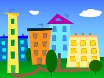 Karikatur-Stadtvektor der Stadtlandschaft abstrakter Lizenzfreie Stockfotografie
