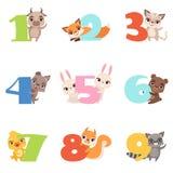 Karikatur stellte mit bunten Zahlen von 1 bis 9 und Tieren ein Kalb, Fuchs, Katze, Hund, Kaninchen, Bär, Entlein, Eichhörnchen vektor abbildung