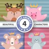 Karikatur stellte Tiere - Rotwild, Schwein, Bär, Maus ein vektor abbildung