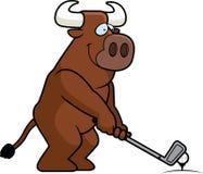 Karikatur-Stier-Golf spielen stock abbildung