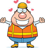 Karikatur-Straßen-Arbeitskraft-Umarmung Lizenzfreies Stockfoto