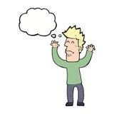 Karikatur stresssed Mann mit Gedankenblase Stockfotos