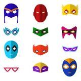 Karikatur-Superheld-Masken-Farbikonen eingestellt Vektor Lizenzfreie Stockfotografie