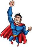 Karikatur-Supermann mit sehr großem Kasten Lizenzfreie Stockfotos