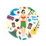Karikatur-Symbol der runden Design-Schablone Hawaiis Vektor Stockfoto
