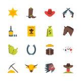 Karikatur-Symbol des Cowboys Color Icons Set Vektor Stockfotografie