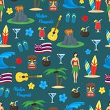 Karikatur-Symbol des nahtlosen Muster-Hintergrundes Hawaiis Vektor Lizenzfreie Stockbilder