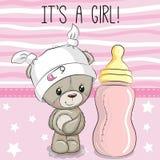 Karikatur Teddy Bear mit Saugflasche lizenzfreie abbildung