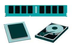 Karikatur-Teile für persönliche PC-Ikone HDD, RAM, CPU Stockbilder