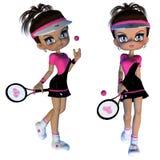 Karikatur-Tennis-Spieler Stockfoto