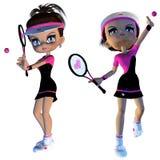 Karikatur-Tennis-Spieler Stockbild