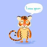Karikatur-Tiger Smile Show Two Finger-Friedensgeste Stockfotografie