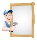 Karikatur-Tischler Sign Stockfotografie