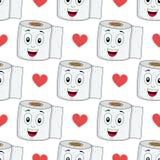 Karikatur-Toilettenpapier-nahtloses Muster Lizenzfreies Stockbild