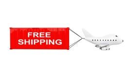 Karikatur Toy Jet Airplane Carry Cargo Container mit kostenlosem Versand Stockbild