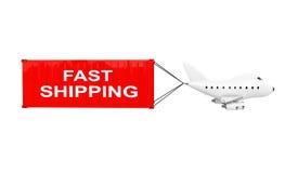 Karikatur Toy Jet Airplane Carry Cargo Container mit schnellem Versand Lizenzfreies Stockfoto