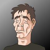 Karikatur-trauriger deprimierter Mann Stockbilder