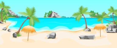 Karikatur-tropischer Strand-Sommer-Landschaftshintergrund Vektor stock abbildung