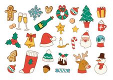 Karikatur und Ikonen für Weihnachten-` s Festival, flache Linie und Illustration lizenzfreie abbildung