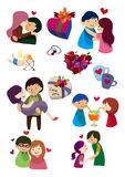 Karikatur-Valentinstagikone Stockbilder