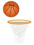 Karikatur-Vektor-Basketball mit Korb stockfotografie