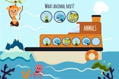 Karikatur-Vektor-Illustration der Bildung setzt die logische Reihe von bunten Tieren auf einem Boot im Ozean unter Seefi fort Stockfotos