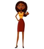 Karikatur-Vektorillustration der Afroamerikanerfrauenmotivation flache EPS10 Getrennt auf einem weißen Hintergrund Stockfotos