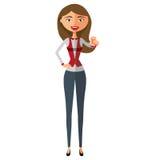 Karikatur-Vektorillustration der Geschäftsfraumotivation flache EPS10 Getrennt auf einem weißen Hintergrund Stockbild