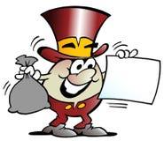 Karikatur-Vektorillustration eines glücklichen goldenen Ei-Maskottchens, das ein Finanzierungsabkommen betrachtet Lizenzfreie Stockbilder