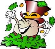 Karikatur-Vektorillustration eines glücklichen goldenen Ei-Maskottchens, das in einem großen Stapel des Geldes sitzt Stockfoto