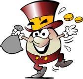 Karikatur-Vektorillustration eines glücklichen goldenen Ei-Maskottchens mit vielen Geld Lizenzfreies Stockbild