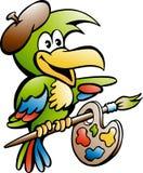 Karikatur-Vektorillustration eines Papageien-Malers Artist Lizenzfreie Stockfotos