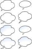 Karikatur-Vektorillustration eines Satzes sprechen Blase Stockfotografie