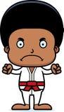 Karikatur-verärgerter Karate-Junge Stockbilder