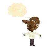 Karikatur verwechselte Mitte gealterten Mann mit Gedankenblase Stockfotos