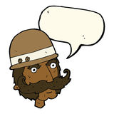 Karikatur Victoriangroßwildjäger mit Spracheblase Stockbild