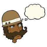 Karikatur Victoriangroßwildjäger mit Gedankenblase Lizenzfreies Stockbild