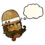 Karikatur Victoriangroßwildjäger mit Gedankenblase Lizenzfreie Stockfotos