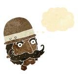 Karikatur Victoriangroßwildjäger mit Gedankenblase Lizenzfreies Stockfoto
